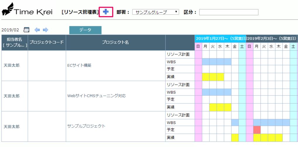 リソース管理表のガントチャート表示