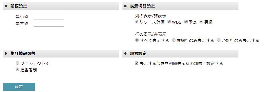リソース管理表の詳細表示設定画面